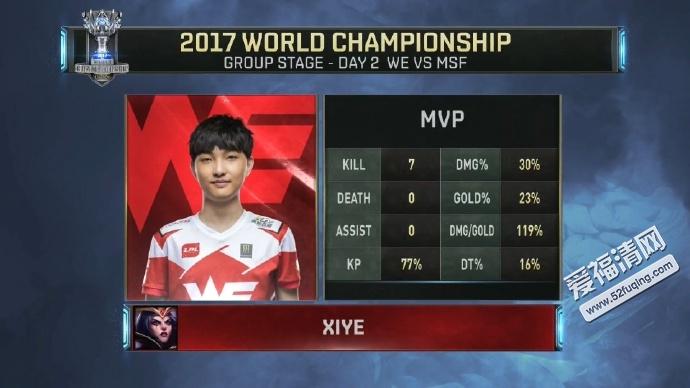 2017年10月6日LOL全球总决赛小组赛WEvsMSF视频录像回放 WE战胜MSF
