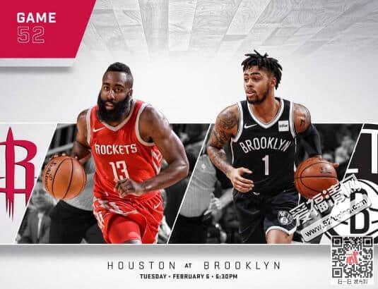 2018年2月7日NBA火箭vs篮网录像视频回放 哈登36分火箭123-113战胜篮网
